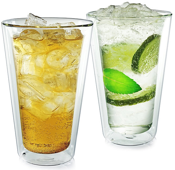 Insulated Tumbler. Set of Two. Glassware