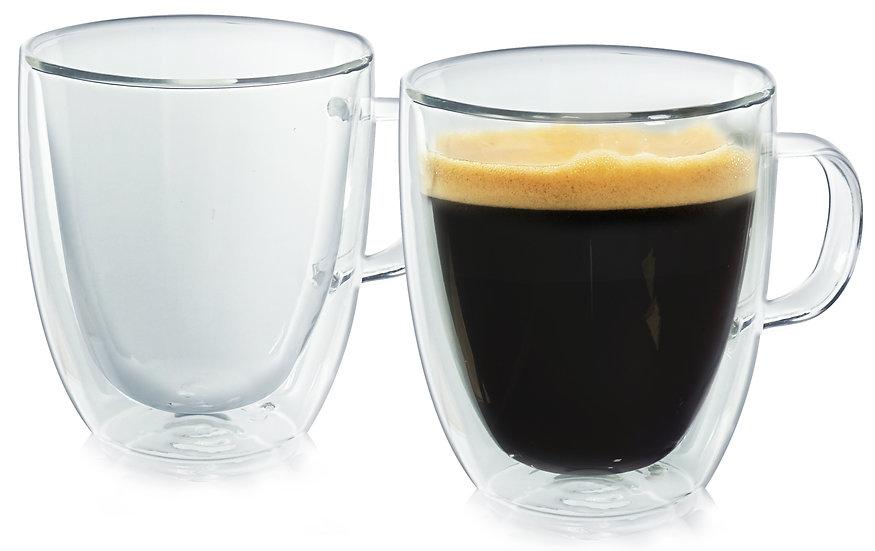 Insulated Coffee Mug. Set of Two. Glassware