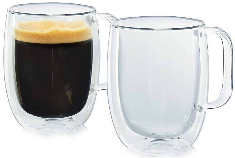 Insulated Coffee Cup. Set of Two. Glassware
