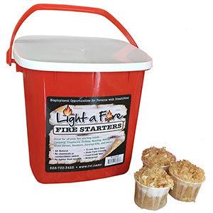 All Natural Firestarter in Travel Bucket. 24 ct.