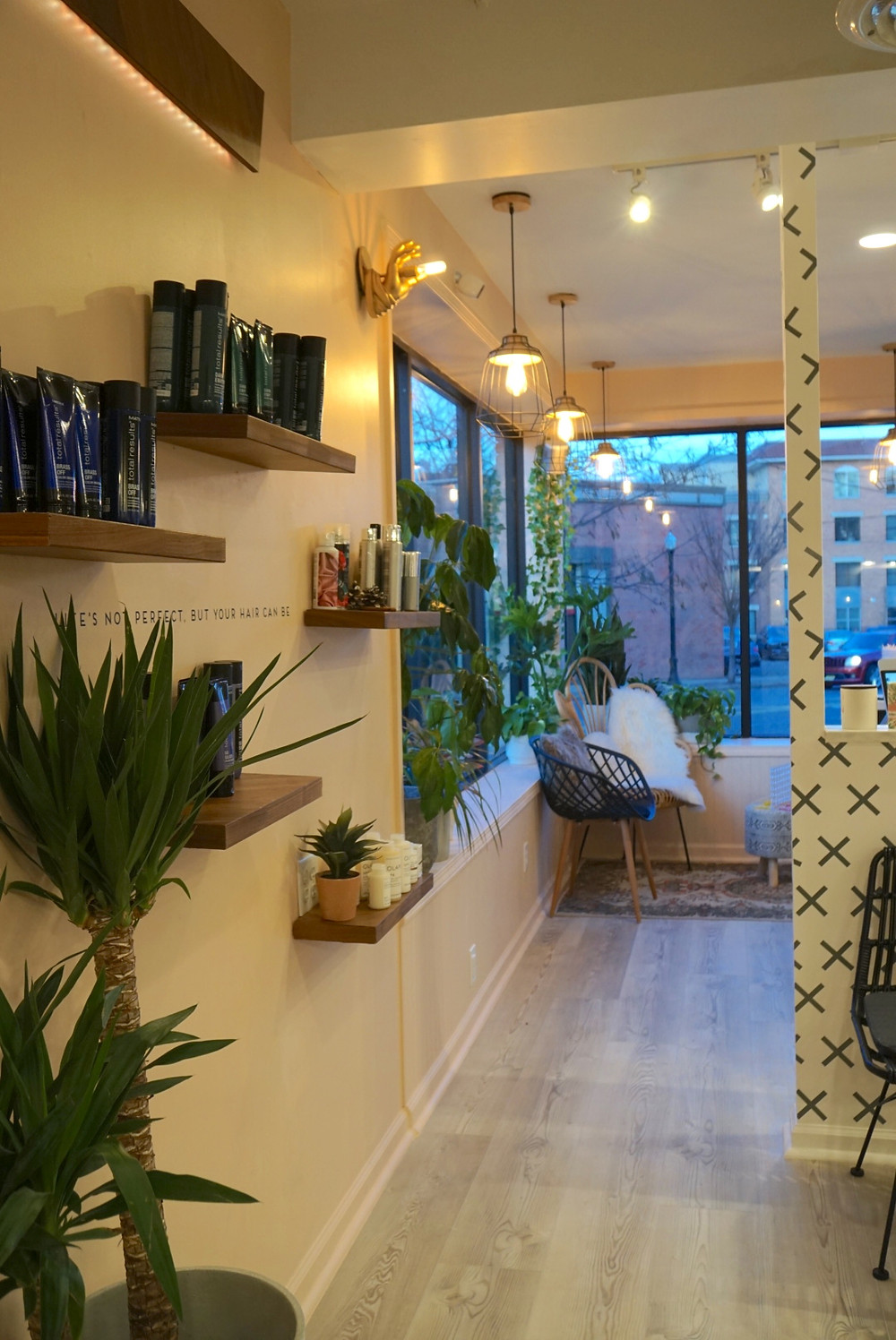 Scandinavian, botanical, boho interior design. Hair Salon Decor and Design at The Salon Westfield. Westfield NJ