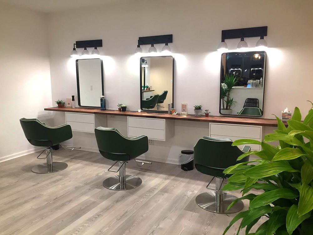 Scandi, Boho, Botanical Salon Design, at The Salon Westfield, Westfield NJ Salon Design.