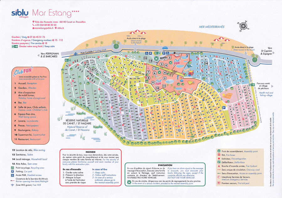 Plan du camping de Mar-Estang