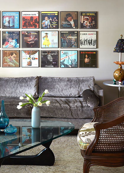Eclectic Living Room w/Record Album Wall Display