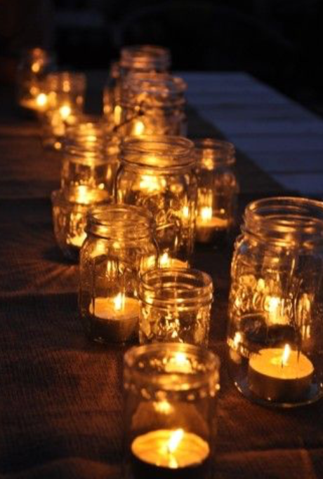mason jars with small votive candles