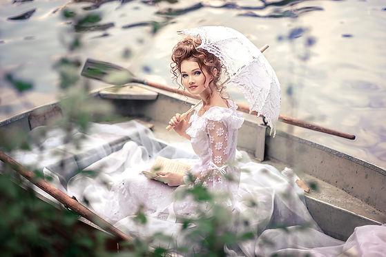 Woman Boat Umbrella Mood Beauty Wellness