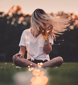 Woman Playing with Lights Healing Energy