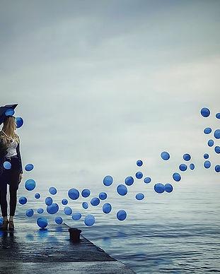 Woman Blue Balloons Dream Dreamworld Umb