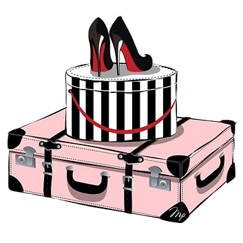 Red Shoes Pink Travel Suitcase Black and