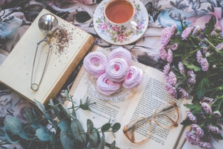 Flatlay Tea Time Reading Book Journaling