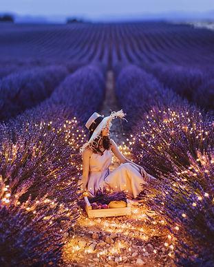 Woman Lavender Field Lights Wallpaper.jp
