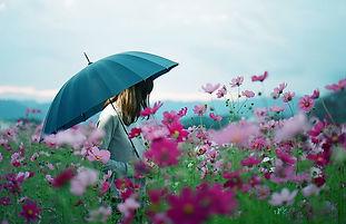 Umbrella  field flowers Cosmos Woman Nat