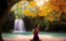 Yoga Meditation Nature Waterfall Wallpap