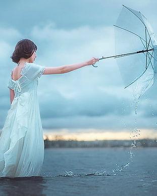 Woman dreams Dreaming Umbrella Water.jpg