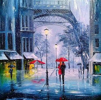 Lovers in the Rain Paris Umbrella Emotio
