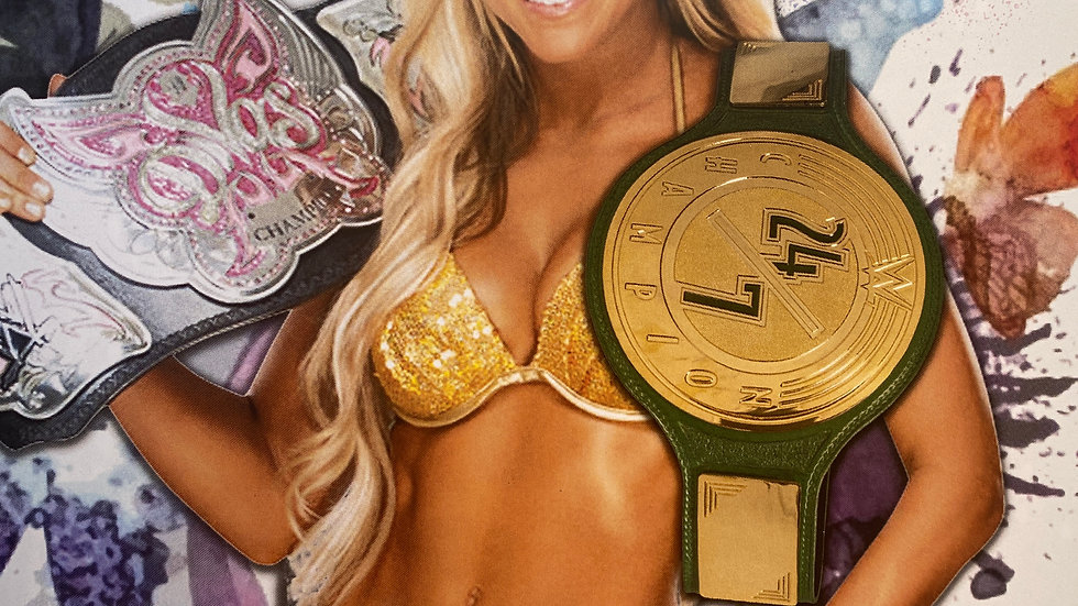 Autographed kelly kelly 8X10 wwe diva championship and 24/7 title