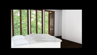 Blick vom Schlafzimmer in Hof & Elternbad