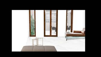 Blick vom Wohnzimmer in Hof und Esszimmer