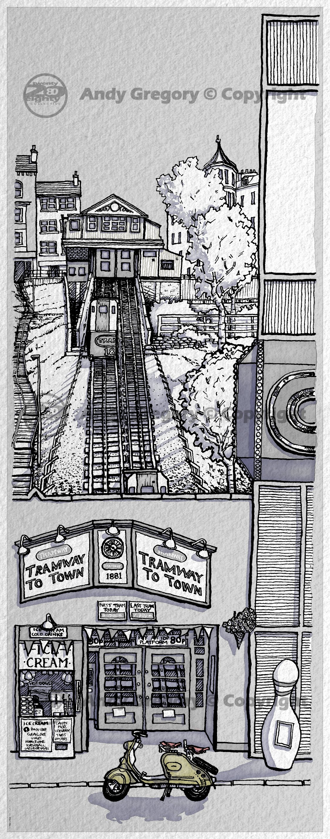 Scarborough Funicular Cliff Lift North Yorkshire 200 Pen and Ink Digital Colour Desaturated Print Pa