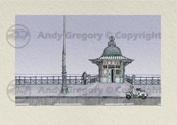 Brighton Madiera Drive Pavillion Lift Lambretta Scooter Pen and Ink Digital Colour Desaturated Print