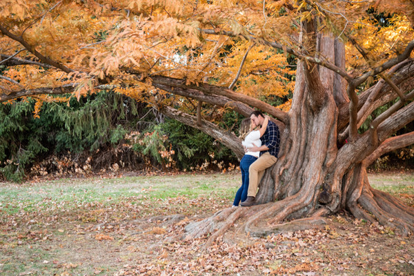 Taylor and Matt Fall Engagement Session at Maudslay State Park