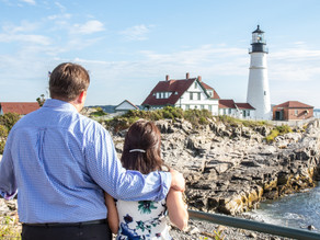 Summertime Lighthouse Engagement Session with Emily and Matt, August 2020