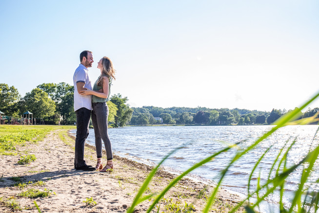 Ashley & Mike Summer Engagement at Lake Quannapowitt