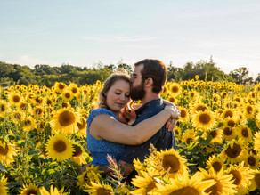 Colby Farm Sunflower Field Engagement Session with Danielle and James, August 2020