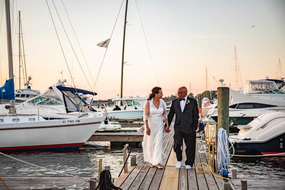 Smith Wedding Bride and Groom on the Dock in Newport RI