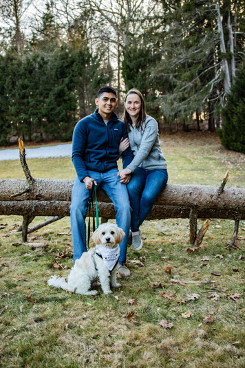 Katie & Adnan Winter Engagement at Maudslay State Park (and Haru!)
