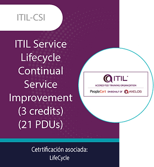 ITIL-CSI | ITIL Service Lifecycle-Continual Service Improvement (21 PDUs)