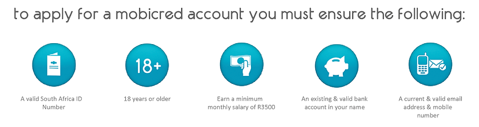 To apply for a mobicred account you mut ensure the following