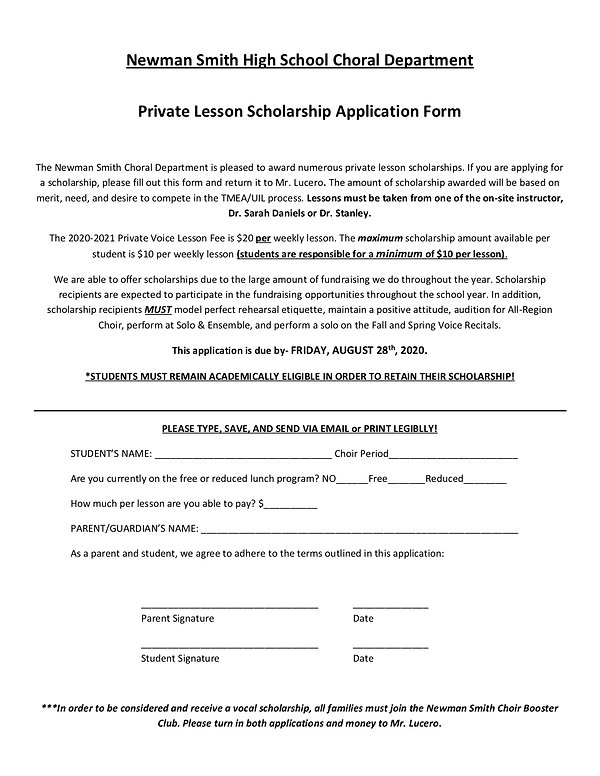 2020-2021 Private Lesson Application and
