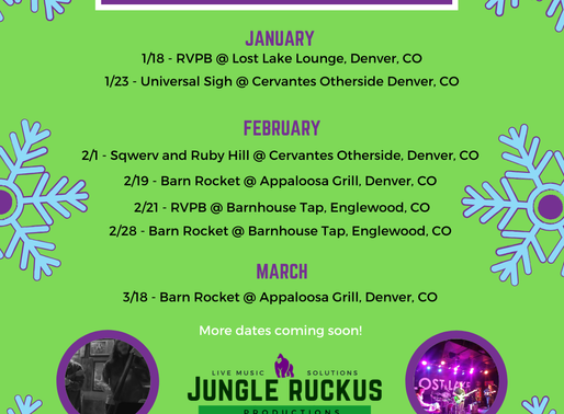 Here are some shows we are promoting this winter through Jungle Ruckus Presents!