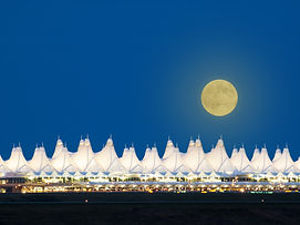 Denver International Airport  at night..