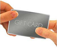 Hands holding gift card