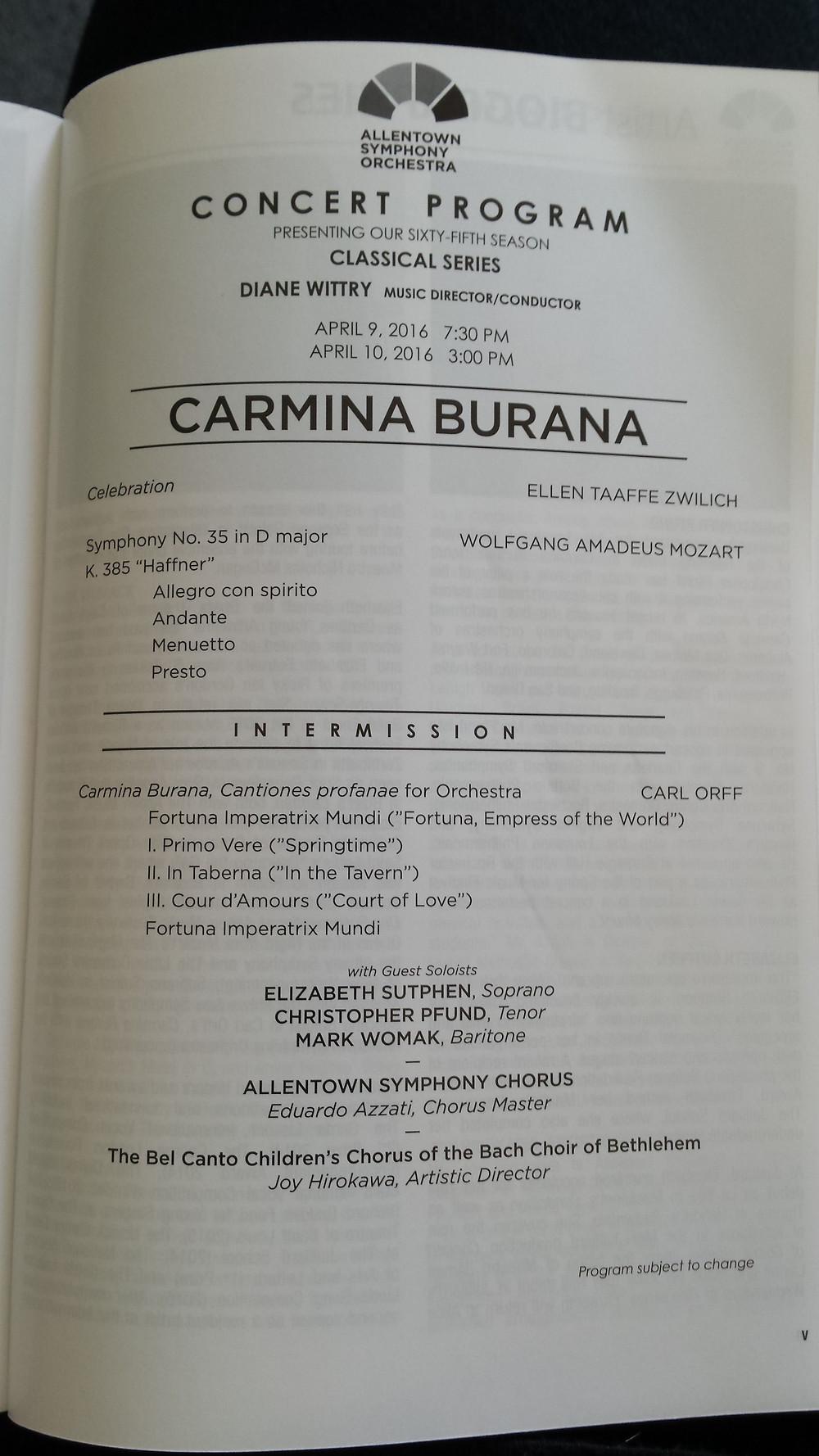 Allentown Symphony, Carmina Burana