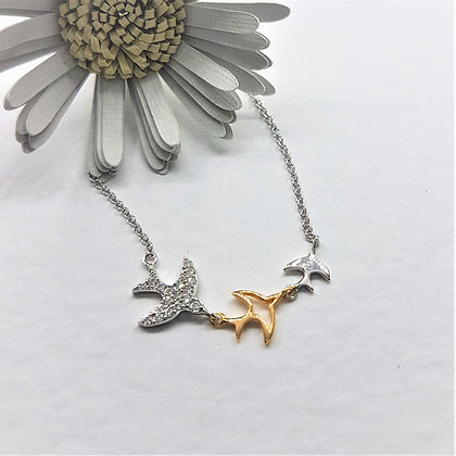 Swift Necklace, Silver, Cubic Zirconia and Gold