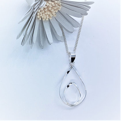 Silver Double Open Pear shaped Necklace