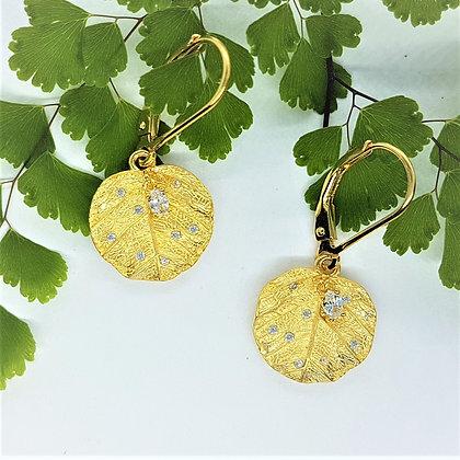 Elder Leaf Earrings, Silver, Cubic Zirconia & Gold Vermeil