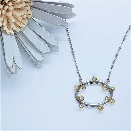 Silver, Cubic Zirconia and Gold Vermeil Boodled Hoop Necklace