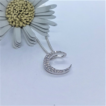 Silver & Cubic Zirconia Sparkles Moon Necklace