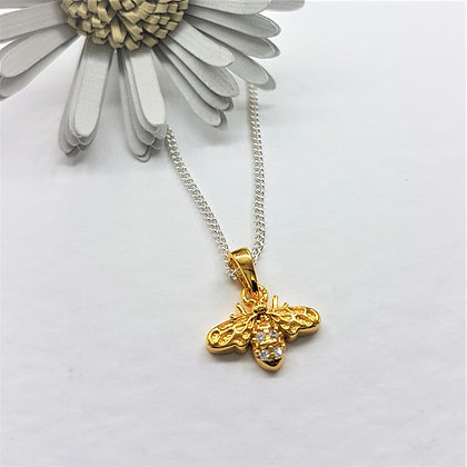 Honey Bee Necklace, Silver, CZ and Gold Vermeil