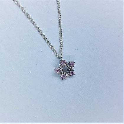 Flower Necklace, Pink Diamond Cubic Zirconia