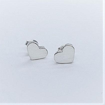 Perfect Little Silver Heart Stud Earrings