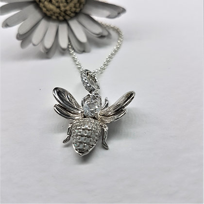 Cubic Zirconia Honey Bee Necklace