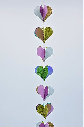 Heart Mobiles - Green and Purple