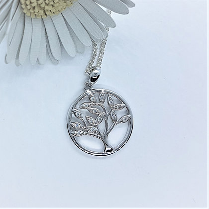 Cubic Zirconia Tree of Life Necklace