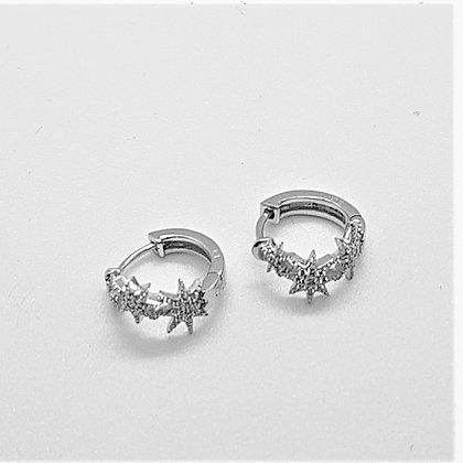Stars Huggie Earrings, Silver & Cubic Zirconia