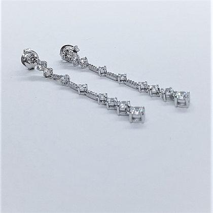 Party Drop Earrings, Silver & Cubic Zirconia